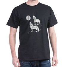 Distressed Coyotes Howling Silhouette T-Shirt