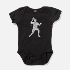 Distressed Table Tennis Player Silhouette Baby Bod