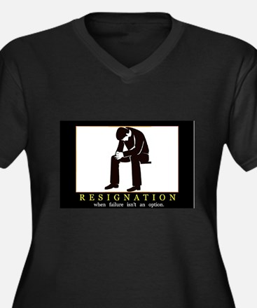 Resignation Women's Plus Size V-Neck Dark T-Shirt