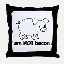 I am NOT bacon Throw Pillow
