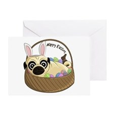 Happy Easter Pug Greeting Cards