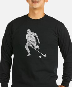 Distressed Field Hockey Player Silhouette T