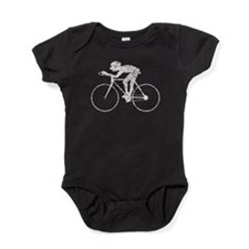Distressed Cyclist Silhouette Baby Bodysuit