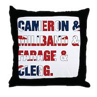 Cameron & Miliband & Farage & Clegg Throw Pillow