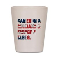 Cameron & Miliband & Farage & Clegg Shot Glass