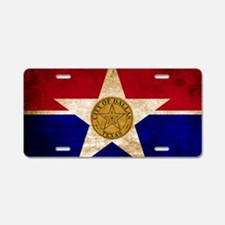 Vintage Flag of Dallas Texa Aluminum License Plate