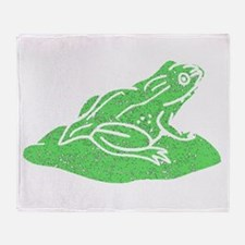 Distressed Green Frog On Lilypad Throw Blanket