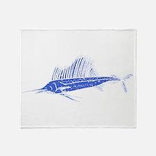 Distressed Blue Sail Fish Throw Blanket