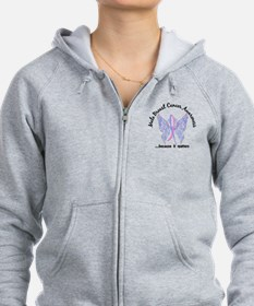 Male Breast Cancer Butterfly 6. Zip Hoodie