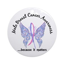 Male Breast Cancer Butterfly 6.1 Ornament (Round)