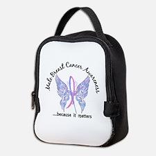 Male Breast Cancer Butterfly 6. Neoprene Lunch Bag