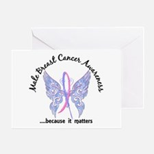 Male Breast Cancer Butterfly 6.1 Greeting Card