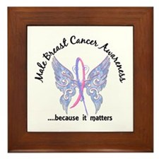 Male Breast Cancer Butterfly 6.1 Framed Tile