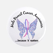"""Male Breast Cancer Butterfl 3.5"""" Button (100 pack)"""