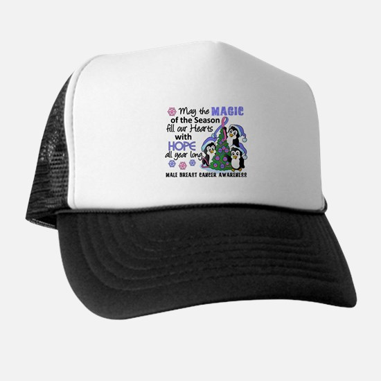 Holiday Penguins Male Breast Cancer Trucker Hat