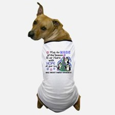 Holiday Penguins Male Breast Cancer Dog T-Shirt