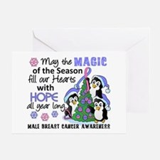 Holiday Penguins Male Breast Cancer Greeting Card