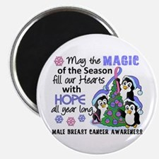 """Holiday Penguins Male Breast Cancer 2.25"""" Magnet ("""