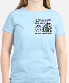 Holiday Penguins Male Breast Cancer T-Shirt