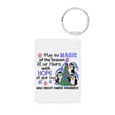 Holiday Penguins Male Breast Cancer Keychains