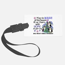 Holiday Penguins Male Breast Cancer Luggage Tag