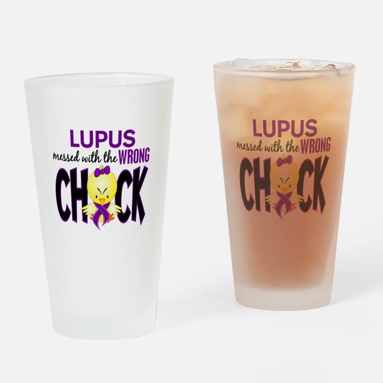Lupus MessedWithWrongChick1 Drinking Glass