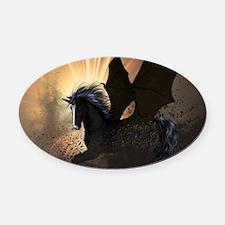 Beautiful dark unicorn Oval Car Magnet