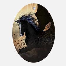 Beautiful dark unicorn Ornament (Oval)