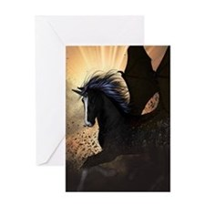 Beautiful dark unicorn Greeting Cards