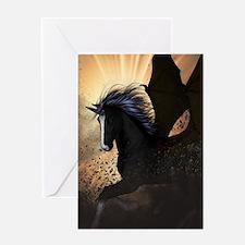 Beautiful dark unicorn Greeting Cards