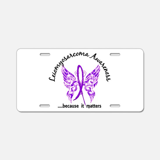 Leiomyosarcoma Butterfly 6. Aluminum License Plate