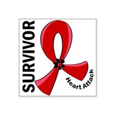 "Heart Attack Survivor 12 Square Sticker 3"" x 3"""