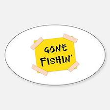 Gone Fishin' Sign Sticker (Oval)