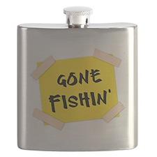 Gone Fishin' Sign Flask