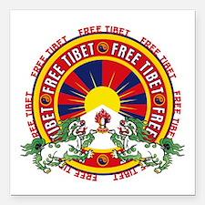 "Free Tibet Snow Lions Square Car Magnet 3"" x 3"""
