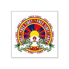 "Free Tibet Snow Lions Square Sticker 3"" x 3"""