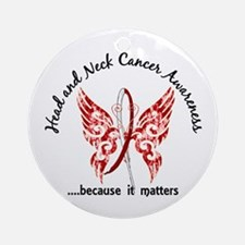Head Neck Cancer Butterfly 6.1 Ornament (Round)