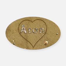 Aron Beach Love Oval Car Magnet
