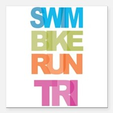 "SWIM BIKE RUN TRI Square Car Magnet 3"" x 3"""