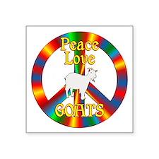 "Peace Love Goats Square Sticker 3"" x 3"""