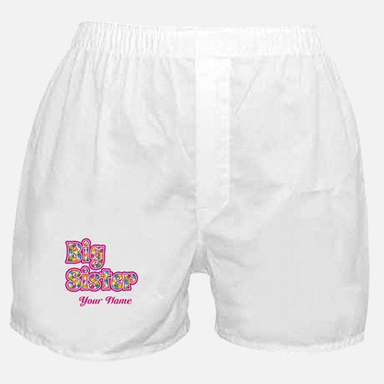 Big Sister Pink Splat - Personalized Boxer Shorts