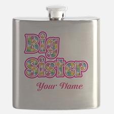 Big Sister Pink Splat - Personalized Flask