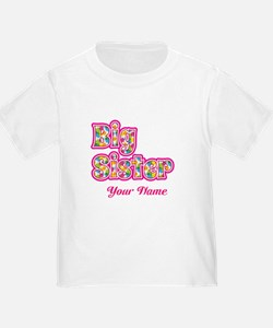 Big Sister Pink Splat - Personalized T-Shirt