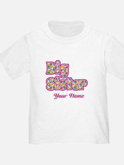 Big Sister Pink Splat - Personalized T-Shirt