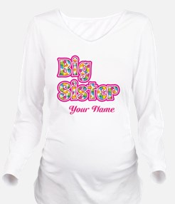 Big Sister Pink Splat - Personalized Long Sleeve M