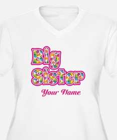 Big Sister Pink Splat - Personalized Plus Size T-S