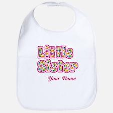 Little Sister Pink Splat - Personalized Bib