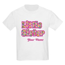 Little Sister Pink Splat - Personalized T-Shirt