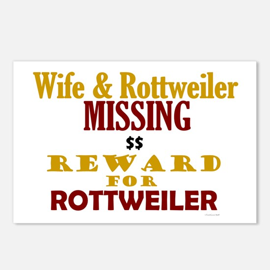 Wife & Rottweiler Missing Postcards (Package of 8)