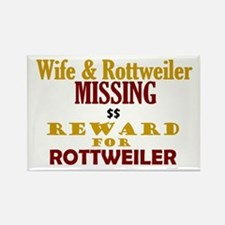 Wife & Rottweiler Missing Rectangle Magnet